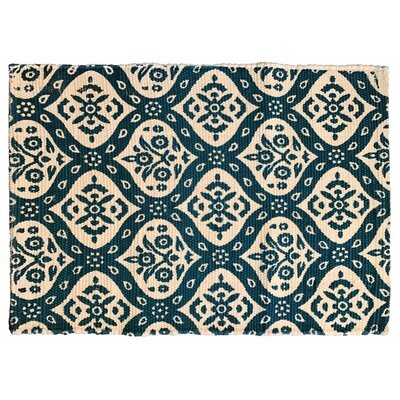 Mustafa Ogee Printed Cotton Hand Woven Teal Area Rug