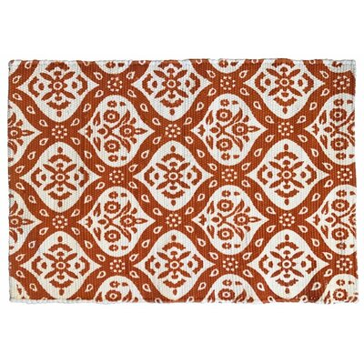 Mustafa Ogee Printed Cotton Hand Woven Orange Area Rug