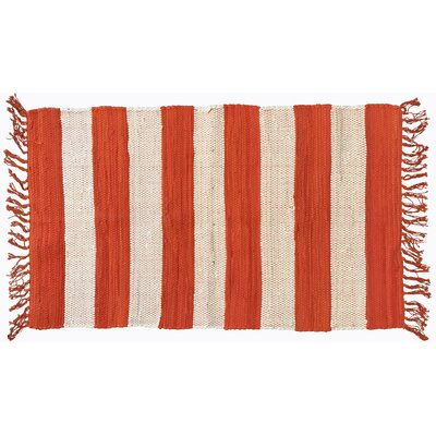 Bruno Stripe Area Rug in Orange