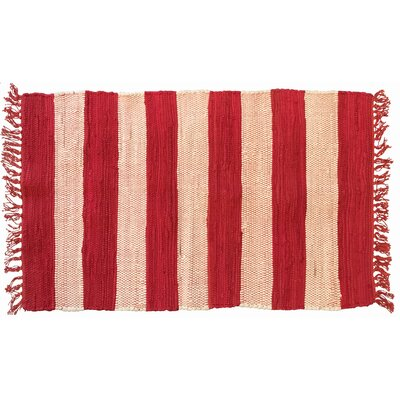 Bruno Stripe Area Rug in Red