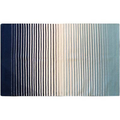 Tara 100% Cotton Striped Fade Rug in Navy