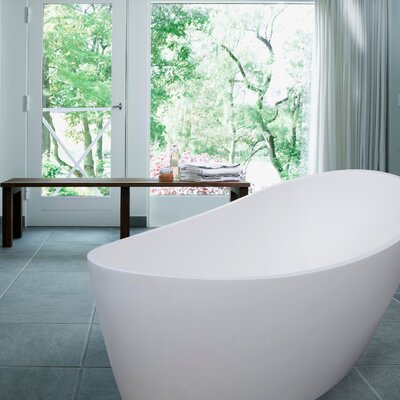 Dune 59 x 32 Freestanding Soaking Bathtub Color: Satin White