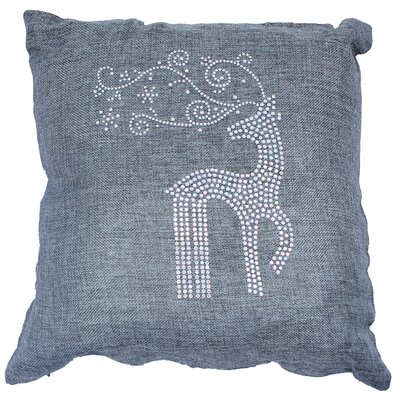 Holiday Rhinestone Reindeer and Snowflakes Throw Pillow Color: Ash