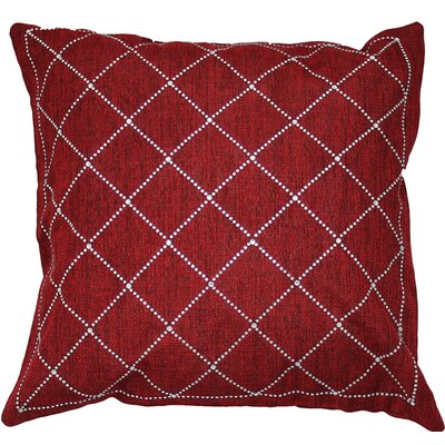 Rhinestone Criss-Cross Throw Pillow Color: Crimson