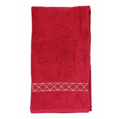 Rhinestone X-Pattern Bath Towel Color: Red
