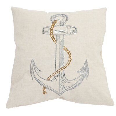 Rhinestone Anchor Throw Pillow Color: Ivory