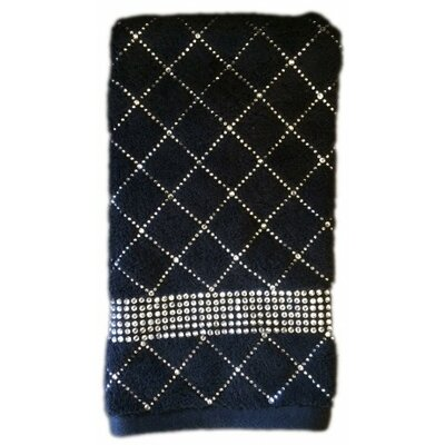 Rhinestone X-Pattern Hand Towel Color: Black