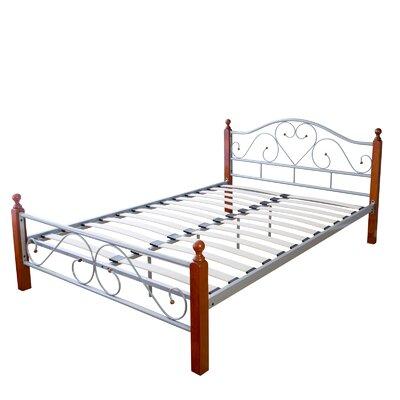 Metallbett Evansville | Schlafzimmer > Betten > Metallbetten | Blackwhitesilverbrownbeigenatural | Charlton Home