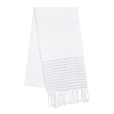 Fouta Lurex Stripes Beach Towel Color: White/Silver