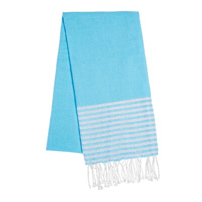 Fouta Lurex Stripes Beach Towel Color: Turquoise/Silver