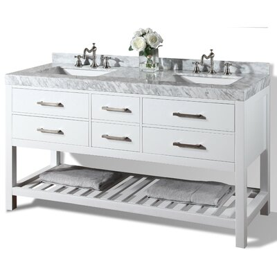 Elizabeth 60 Double Bath Vanity Set Base Finish: White