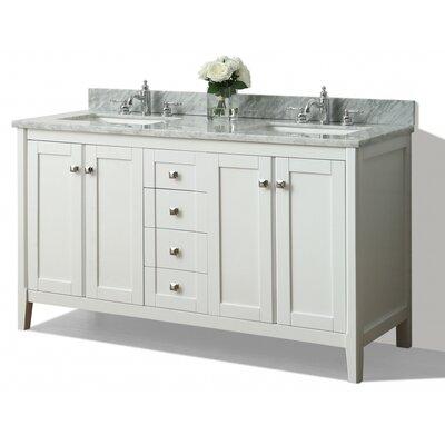 Shelton 60 Double Bath Vanity Set Base Finish: White