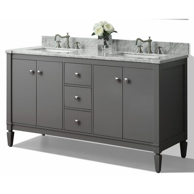 Kayleigh 60 Double Bath Vanity Set Base Finish: Sapphire Grey