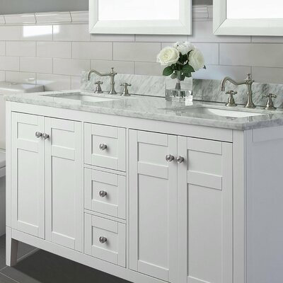 Maili 60 Double Bathroom Vanity Set Base Finish: White