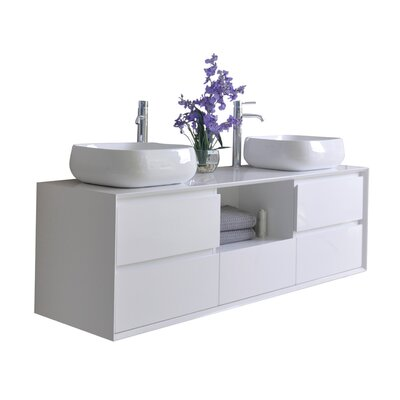 Shreve 63 Double Bathroom Vanity with Mirror