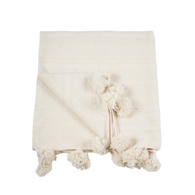 Pom Pom Wool Blanket Size: 59 x 98