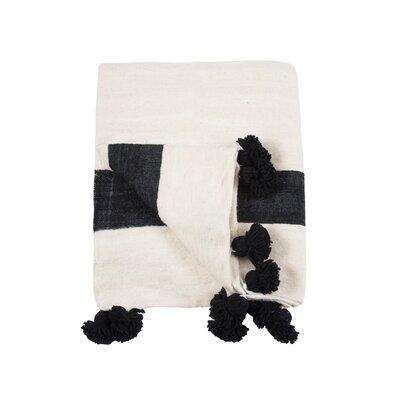 Pom Pom Wool Blanket Size: 78 H x 118 W