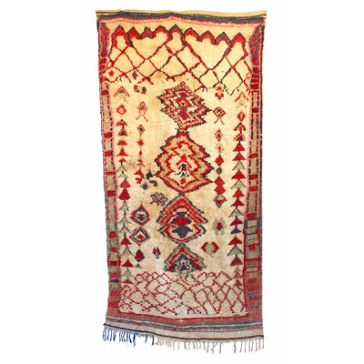Azilal Hand-Woven Beige/Red Area Rug