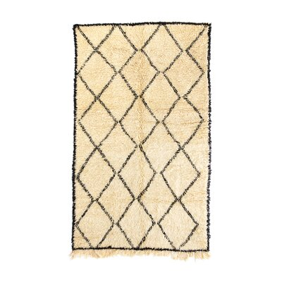 Beni Ourain Hand-Knotted Ivory Area Rug Rug Size: 49 x 86