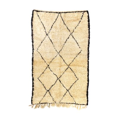 Beni Ourain Hand-Knotted Ivory Area Rug Rug Size: 49 x 8