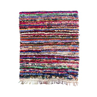 Boucherouite Hand-Knotted Red/Blue Area Rug