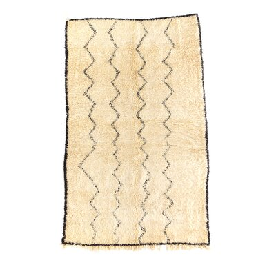 Beni Ourain Hand-Knotted Ivory Area Rug Rug Size: 53 x 83