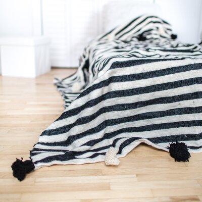 Pom Pom Wool Blanket Size: 59 H x 94 W