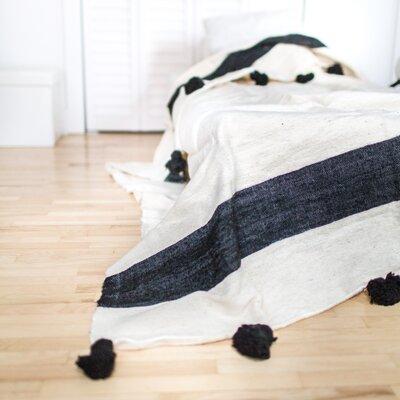 Pom Pom Wool Blanket Size: 78