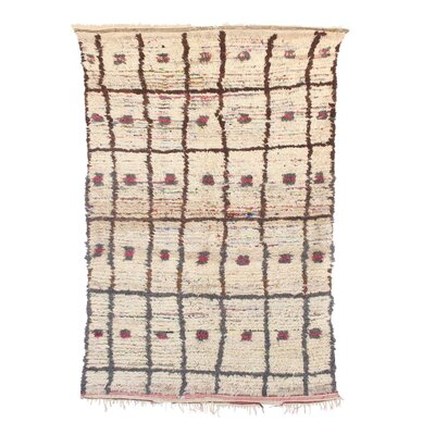 Azilal Hand-Woven Wool Beige/Red Area Rug