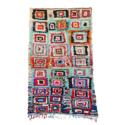 Boucherouite Hand-Woven Wool Cotton Blue/Red Area Rug