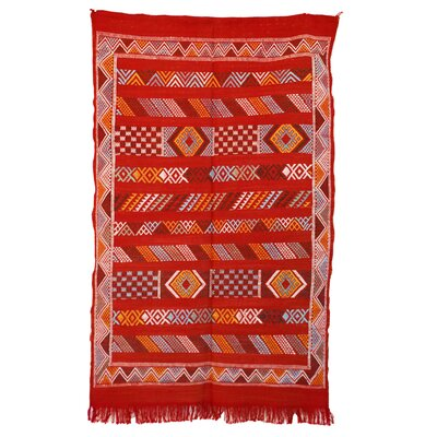 Moroccan Hand Woven Silk Red/Orange Area Rug