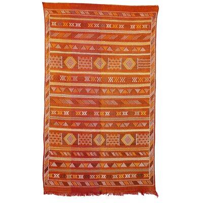 Moroccan Hand Woven Silk Orange/Yellow Area Rug