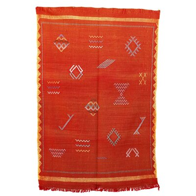 Moroccan Hand Woven Silk Orange/Yellow Area Rug