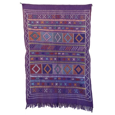 Moroccan Hand Woven Silk Purple/Blue Area Rug