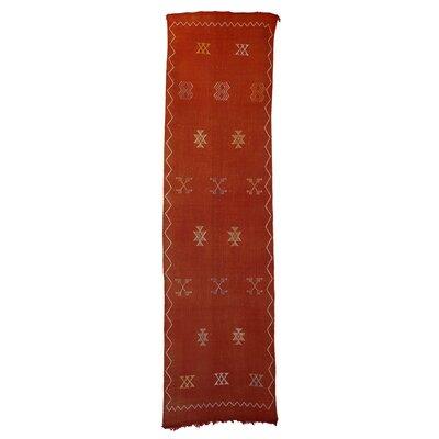 Moroccan Hand Woven Silk Orange Area Rug