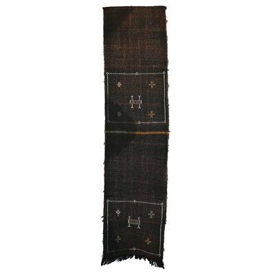 Moroccan Hand Woven Silk Black Area Rug