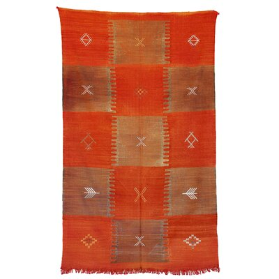 Moroccan Hand Woven Silk Orange/Tan Area Rug