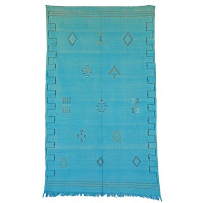 Moroccan Hand Woven Silk Teal Area Rug