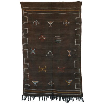 Moroccan Hand Woven Silk Brown Area Rug