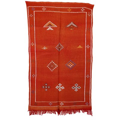 Moroccan Hand Woven Silk Orange Area Rug