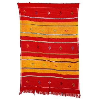 Moroccan Hand Woven Silk Red/Yellow Area Rug