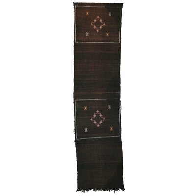 Moroccan Hand Woven Silk Brown/Black Area Rug