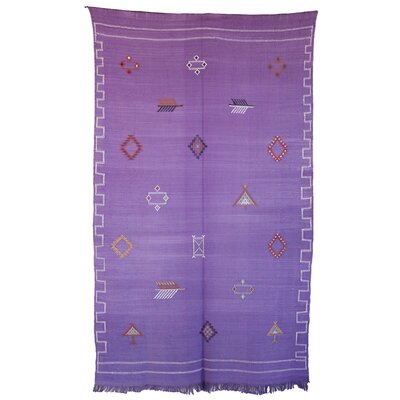 Moroccan Hand Woven Silk Purple Area Rug
