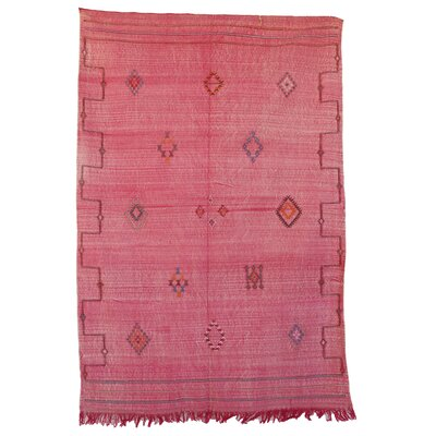 Moroccan Cactus Hand Woven Silk Red Area Rug