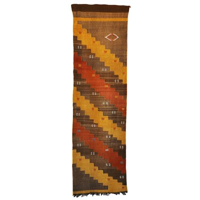 Moroccan Hand Woven Silk Brown/Yellow Area Rug