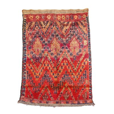 Beni MGuild Moroccan Berber Hand-Woven Wool Red Area Rug