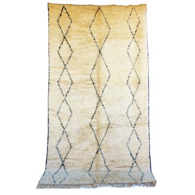 Beni Ourain Moroccan Berber Hand-Knotted Wool Ivory/Black Area Rug