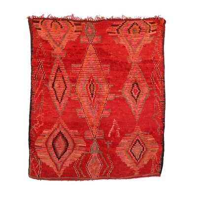 Moroccan Vintage Boujad Hand Knotted Wool Red Area Rug