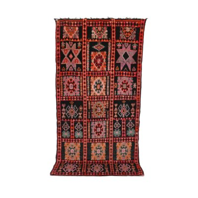 Moroccan Vintage Boujad Hand Knotted Wool Red/Orange Area Rug