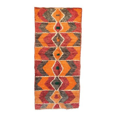 Moroccan Vintage Boujad Hand Knotted Wool Orange/Red/Gray Area Rug